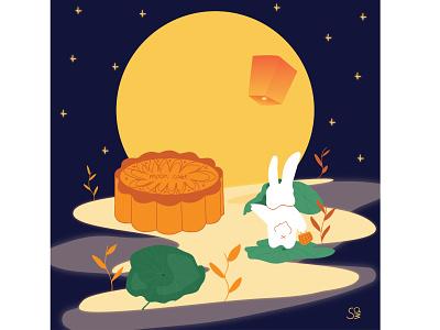 Mid-autumn festival 2020 vectorartwork chinesefestival festival moon rabbit mooncake mid-autumn festival flat illustration flatdesign adobe illustrator digital illustration vector design illustration