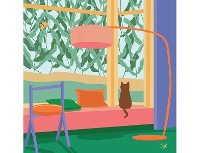 kitty kitty room design cat furniture vector interior design interior digital illustration adobe illustration flat  design flat illustration vector design illustration