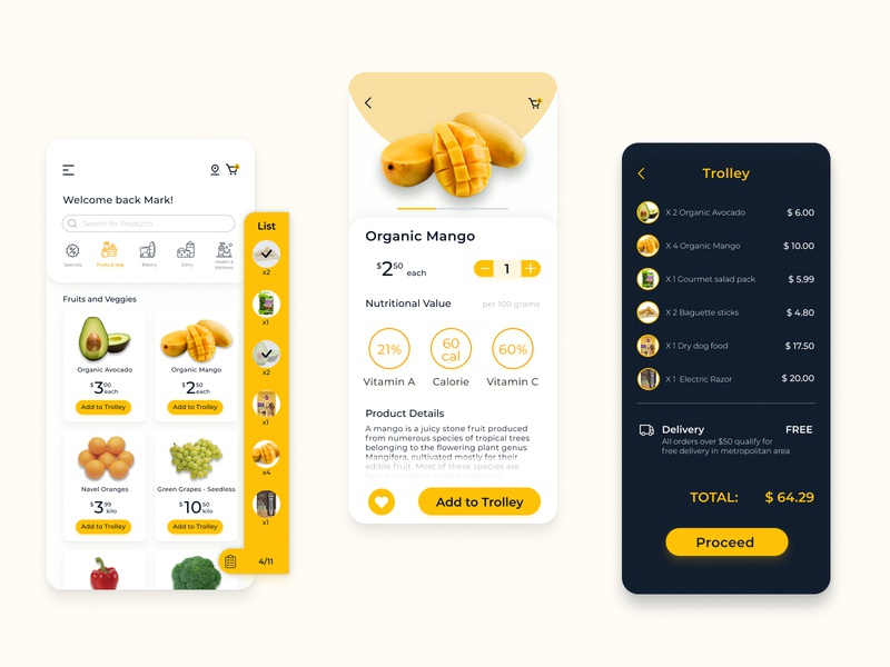 Grocery Shopping App online ordering online shopping trend popular mobile app branding clean mobile ui grocery list flat ecommence daily ui yellow mobile design grocery app inspiration ui app design