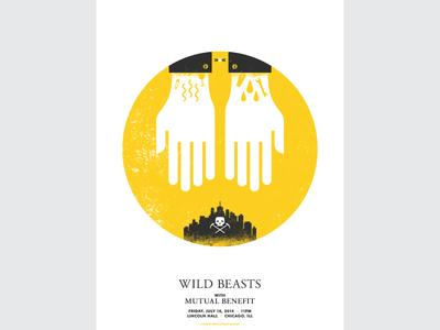 Wild Beats Poster wild beasts gig poster screenprint art simple