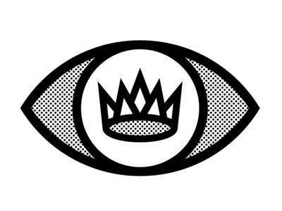 King eye crown halftone simple lines king logo eyeball clean icon