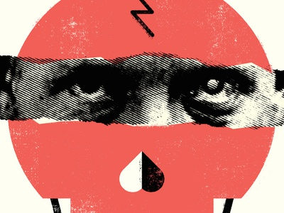 Here's lookin' at you... skull halftone simple texture icon screenprint vintage person illustration rough layers design