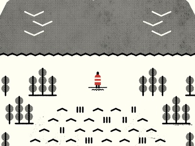 Red Rock Sun screenprint simple texture illustration design clean icon wip lines halftone mountain tree