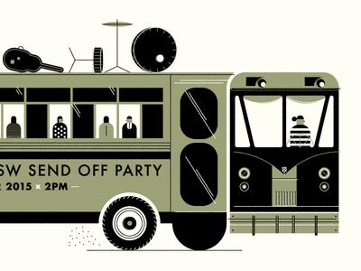 Magical Musical Bus Rides screenprint clean design illustration simple minimal texture lines modern wip icon print