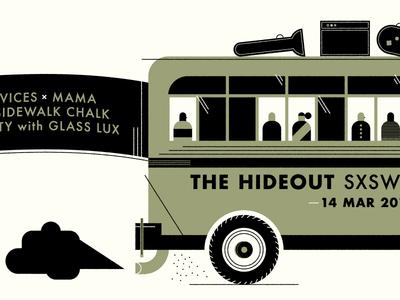 The Hideout SXSW gig poster screenprint design texture icon bus sxsw simple clean illustration minimal