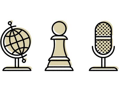 Icon Party custom microphone pawn icon globe screenprint design illustration simple clean offset minimal