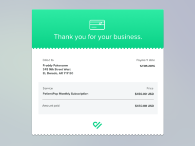 Monthly Email Invoice / Reciept
