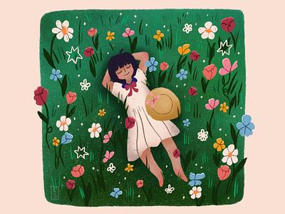 Meadow illustration 2d pastel gradients character design nature summer feminine illustrator texture procreate flowers cute girl illustration