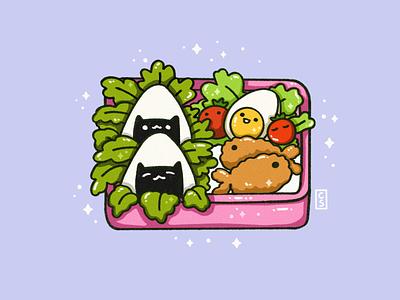 Bento box art flat colorful illustration 2d cute art texture food illustration bento box cute illustrator procreate illustration
