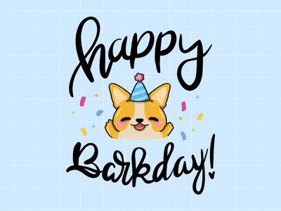 Happy barkday! greeting card party cute art dog illustration dog illustrator art cute illustration 2d procreate illustration animal illustration animal