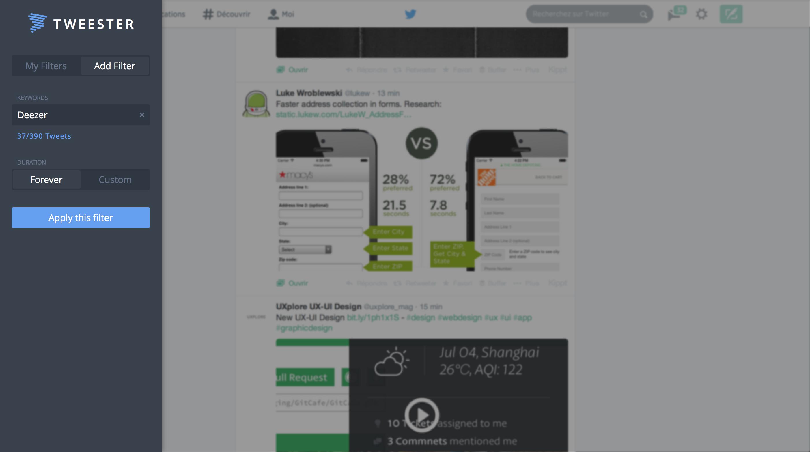 Tweester addfilter