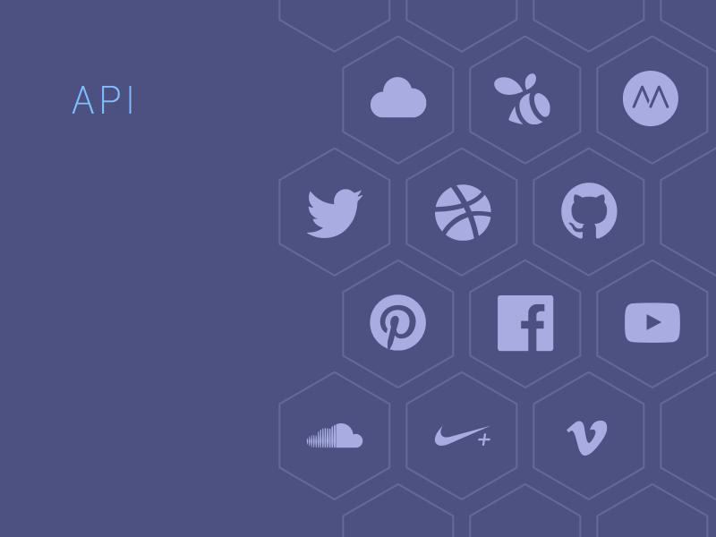 API Connections purple api connectors portfolio twitter dribbble github pinterest cloudapp swarm moves facebook