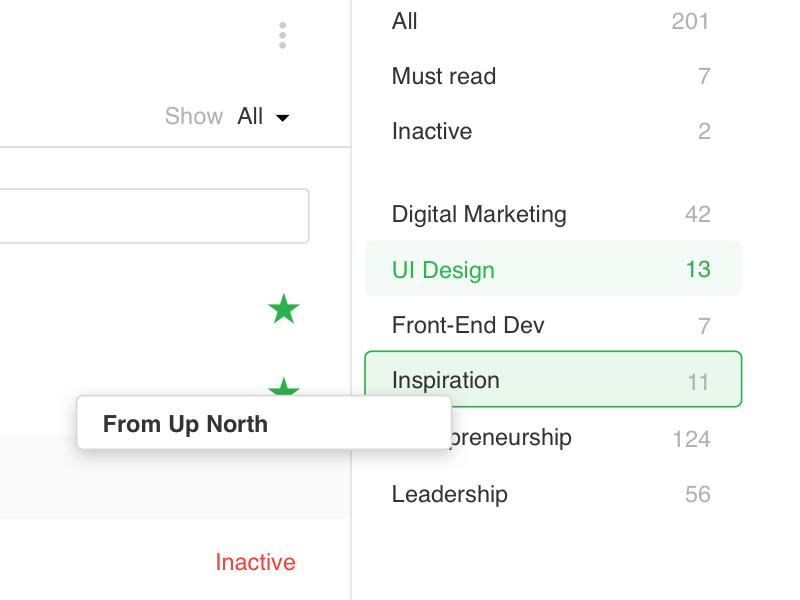 Organize your Feedly — Concept 1 desktop ux ui settings organize feedly