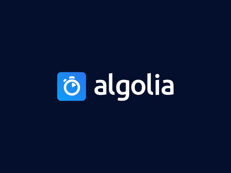 Algolia New Logo blue white lowercase timer logo search algolia