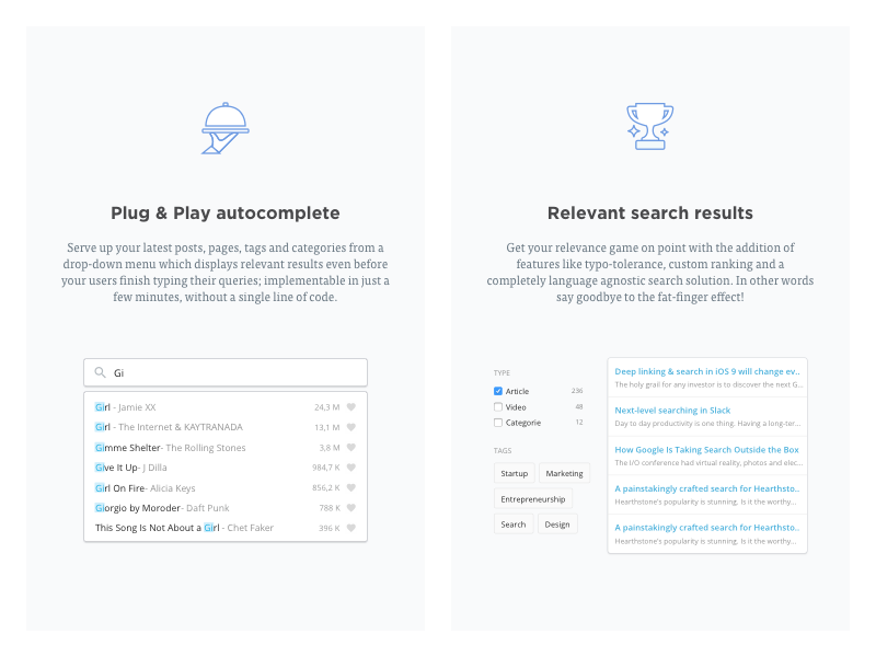 Search Features Illustrated components relevance tags autocomplete faceting ui search