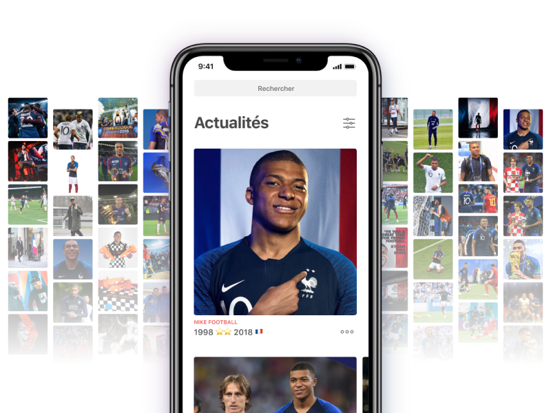 Newsfeed Kylian Mbappé timeline photos mobile app football soccer player france world cup newsfeed mbappe kylian mbappe