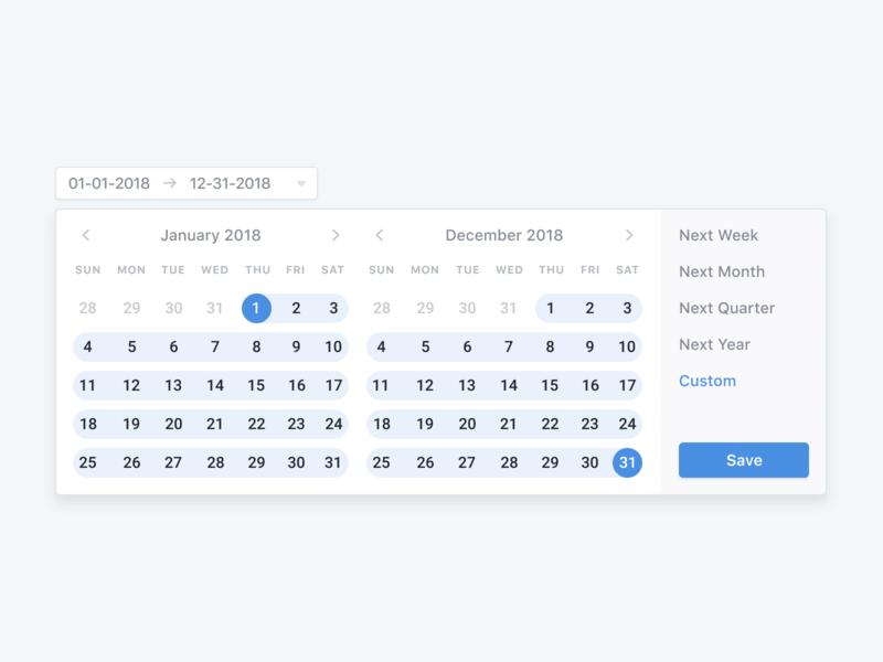 📅 Date Picker blue dropdown ux ui design clean simple date date picker date range calendar dashboard