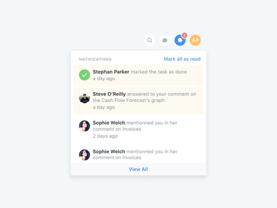 🔔 Notifications ui ux design clean simple notification dropdown menu dashboard