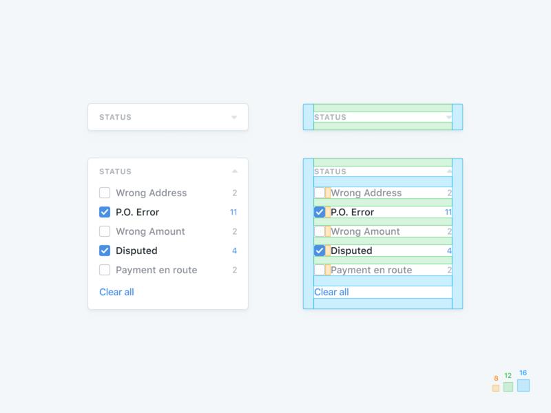 📐Card Spacing card guide dashboard white space 8pt 8pt grid spacing checkbox specs clean simple design ux ui