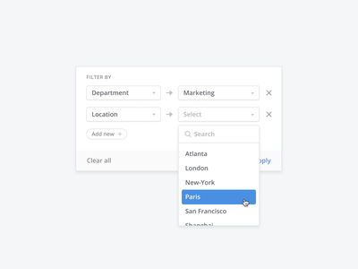 🔍 Filtering component minimal list dashboard facets dropdown filtering simple clean design ux ui search