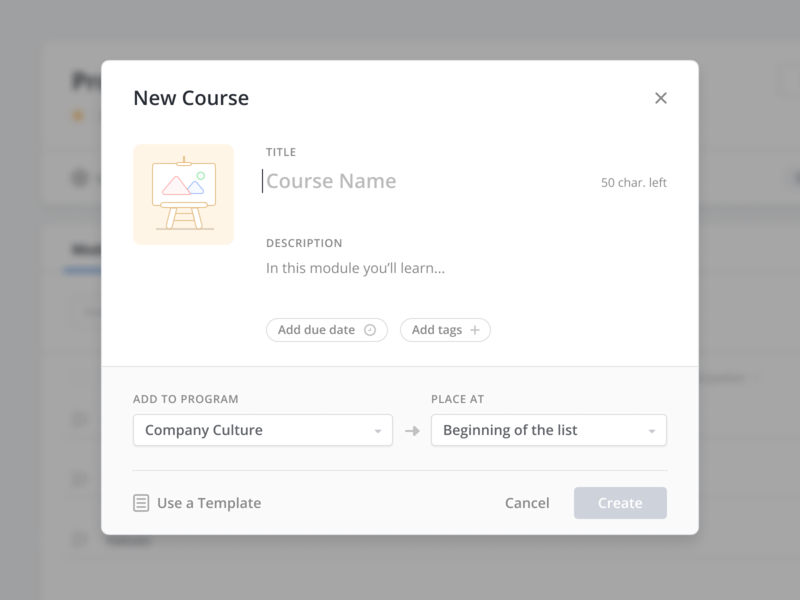📚 Empty State Modal component ui ux design clean simple minimal course program modal popover create empty state dashboard