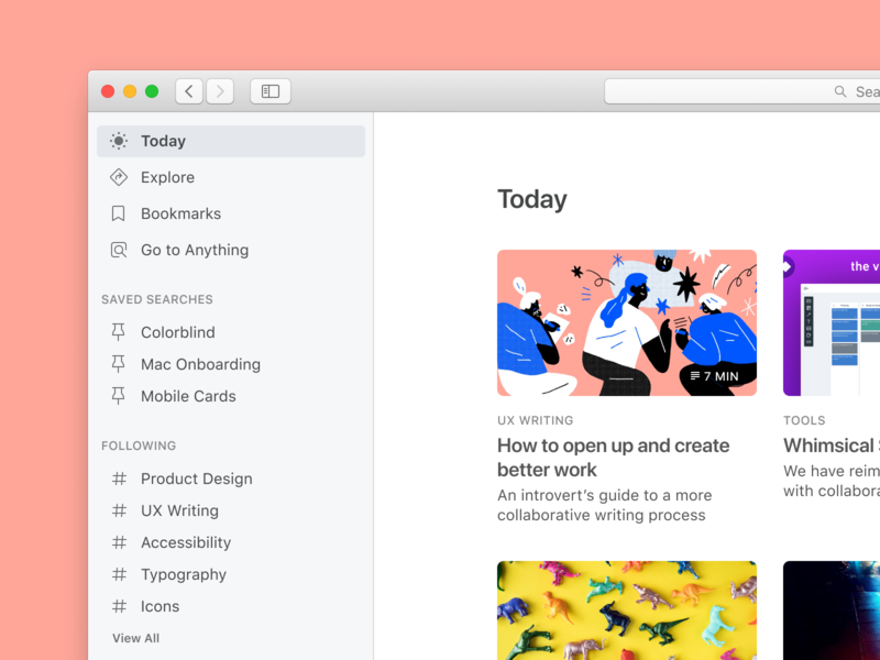 ☀️ macOS Preview education learning vision concept knowledge curation hashtag tags menu sidebar desktop macos app search simple clean design ux ui