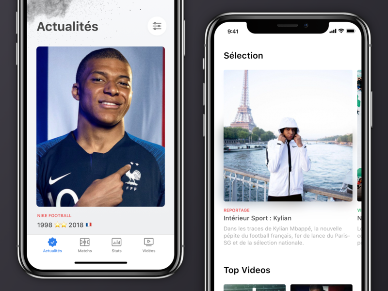 📰 Newsfeed & Videos ios mbappe soccer football app mobile card icons video newsfeed simple clean design ux ui