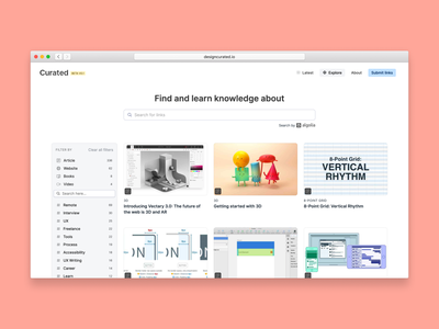 🎉 Curated is live! curated facets filters news links knowledge learning card data app search minimal simple clean design ux ui