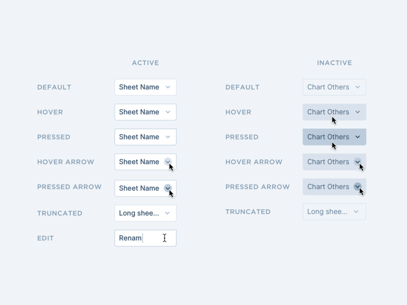 Tabs States interface inputs button states component app minimal dashboard simple clean design ux ui