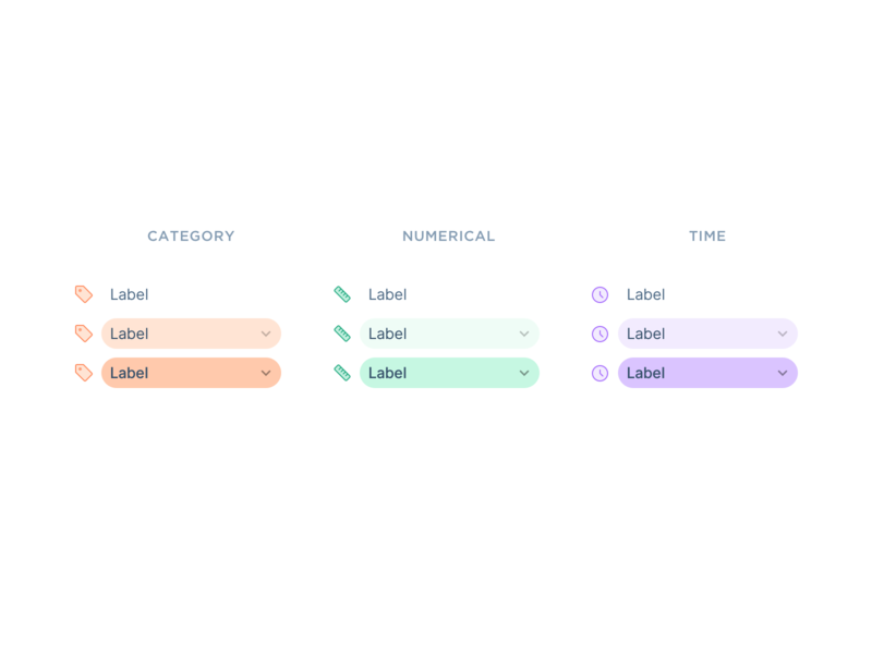 Column Item States button interface states items list icons component minimal dashboard simple clean design ux ui