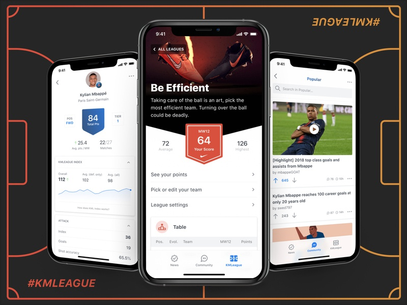 Kylian Mbappé App community conversation branding chart design clean pitch playground team player sport fantasy sports fantasy soccer football ux ui ios app