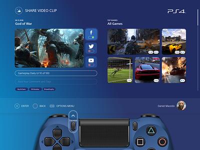 Daily_UI 10 of 100 userprofile uidesign ui profile ps4 sony game console share social dailyui010 dailyui