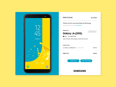 Daily_UI 17 of 100 uxdesign ux uidesign ui singlepage galaxy samsung product receipt email day017 dailyui