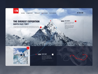 Daily_UI 20 of 100 art direction flat clean uxdesign ux uidesign ui tracker location onepage mountain climbing northface everest landing page landing desktop day020 dailyui