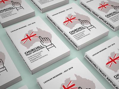 Churchill trust application infograph minimal design e-book editorial layout flag youth politics australia print design book cover