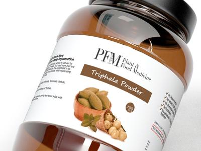 Label for Triphala Powder jar label food supplement product packaging ayurvedic medicine label label design packaging design ayurveda herbal bottle label supplement bottle