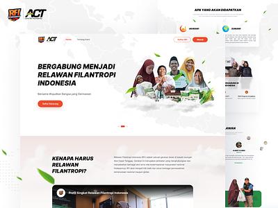 ACT - Relawan Filantropi Website Revamp map indonesian homepage landing page branding humanity act program volunteer rfi donation charity social website ui