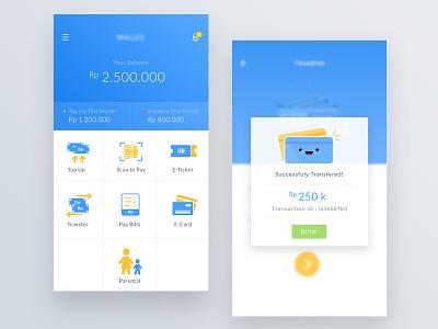 Wallet App balance bank grid view popup blue homescreen pay bill transfer payment wallet mobile ui