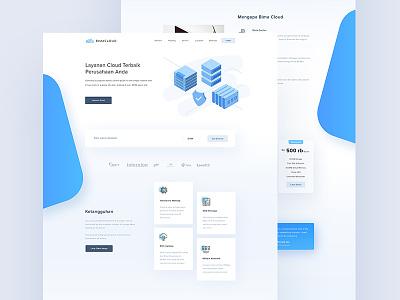 Bima Cloud - Clean Version blue landing page server domain hosting bimacloud service cloud website ui