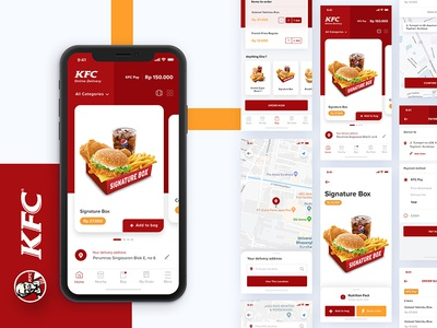 More Screens - KFC Delivery App Exploration food burger card view iphone x payment delivery ios mobile kfc ui