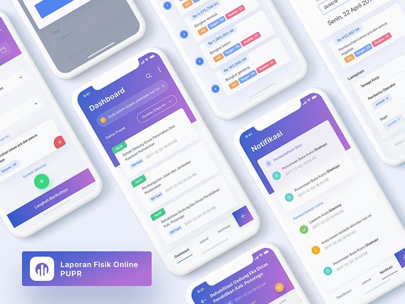 PUPR IOS App clean gradient purple report ponorogo dinas pu iphone x ios mobile ui