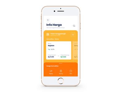 Info Harga App orange price commodity dashboard graph statistic card swipe mobile chart ui