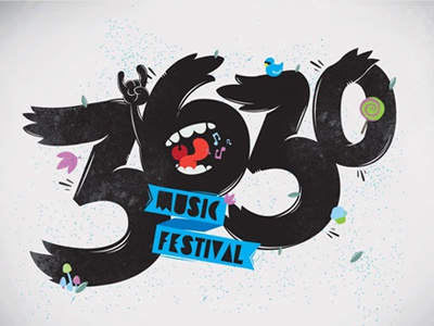 3630 Music Festival logo blue green lollipop rock n roll music festival duck cupcake numbers
