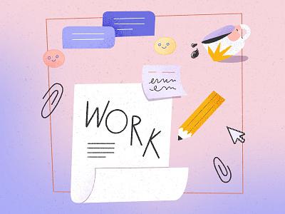 You better work 📎 post it office supplies communication office workspace work illustration digital illustration