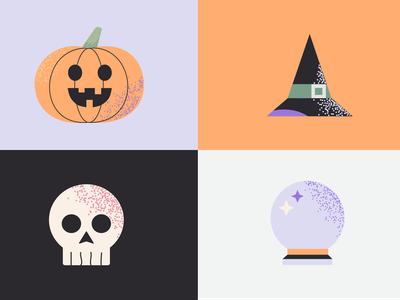 """SPOOKY"" Halloween Icon Set  - #dribbbleweeklywarmup dribbbleweeklywarmup icon spook trickortreat spooky season spooky crystal ball witch skull pumpkin halloween design halloween vector logo illustration branding dailyui ui ux design"