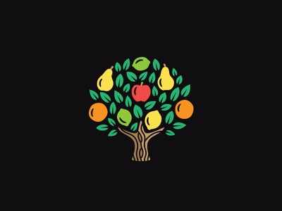 New Fruit Tree symbol anano martsvaladze fruits tree logo apple pear orange lemon leaf mark