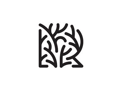 Letter R + Tree lines branding design symbol martsvaladze anano logo mark letter r tree