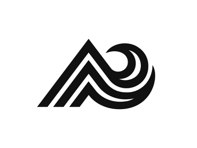 Letter A + Mountain + Wave lines motion hill sea mountain wave branding design symbol martsvaladze anano logo mark letter a letter a