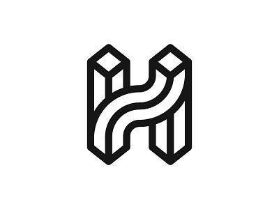 Letter H lines letter h letter h vector branding design symbol martsvaladze anano logo mark