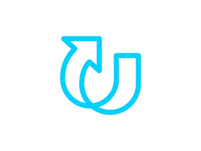 Letter U + Arrow dynamic lines letter u arow letter u vector branding design symbol martsvaladze anano logo mark
